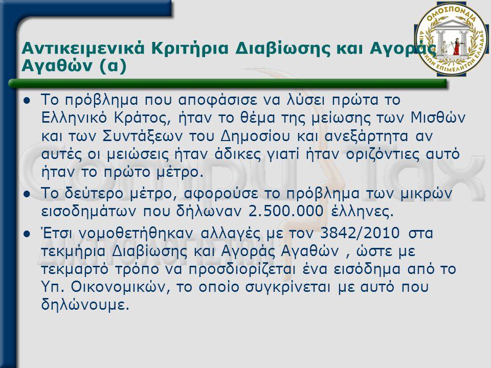 Αντικειμενικά Κριτήρια Διαβίωσης και Αγοράς Αγαθών (α)  Το πρόβλημα που αποφάσισε να λύσει πρώτα το Ελληνικό Κράτος, ήταν το θέμα της μείωσης των Μισ