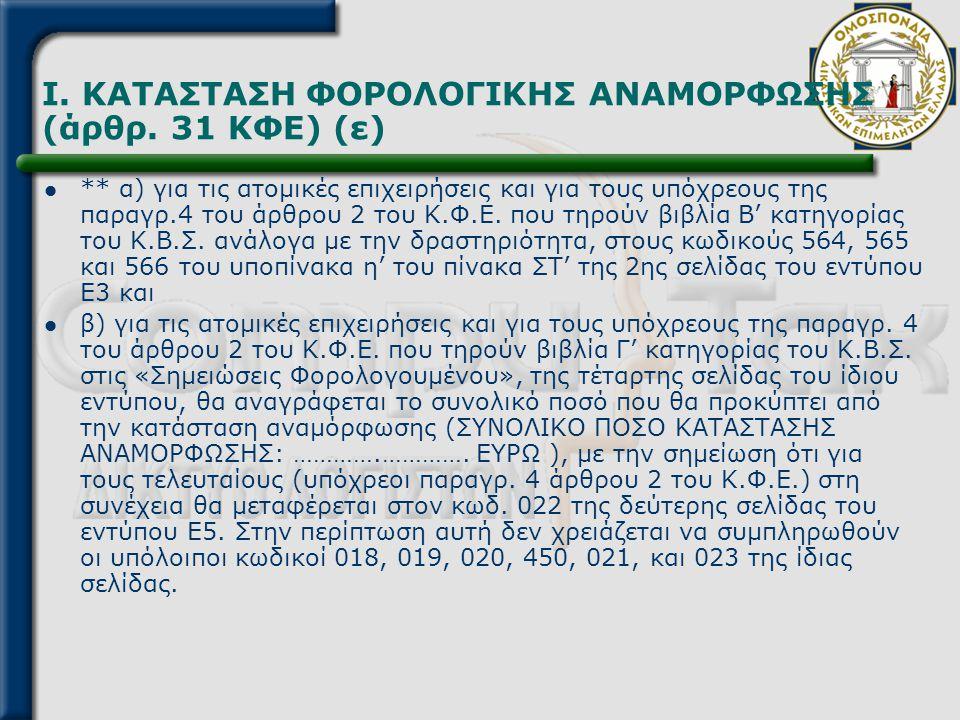 I. ΚΑΤΑΣΤΑΣΗ ΦΟΡΟΛΟΓΙΚΗΣ ΑΝΑΜΟΡΦΩΣΗΣ (άρθρ. 31 ΚΦΕ) (ε)  ** α) για τις ατομικές επιχειρήσεις και για τους υπόχρεους της παραγρ.4 του άρθρου 2 του Κ.Φ