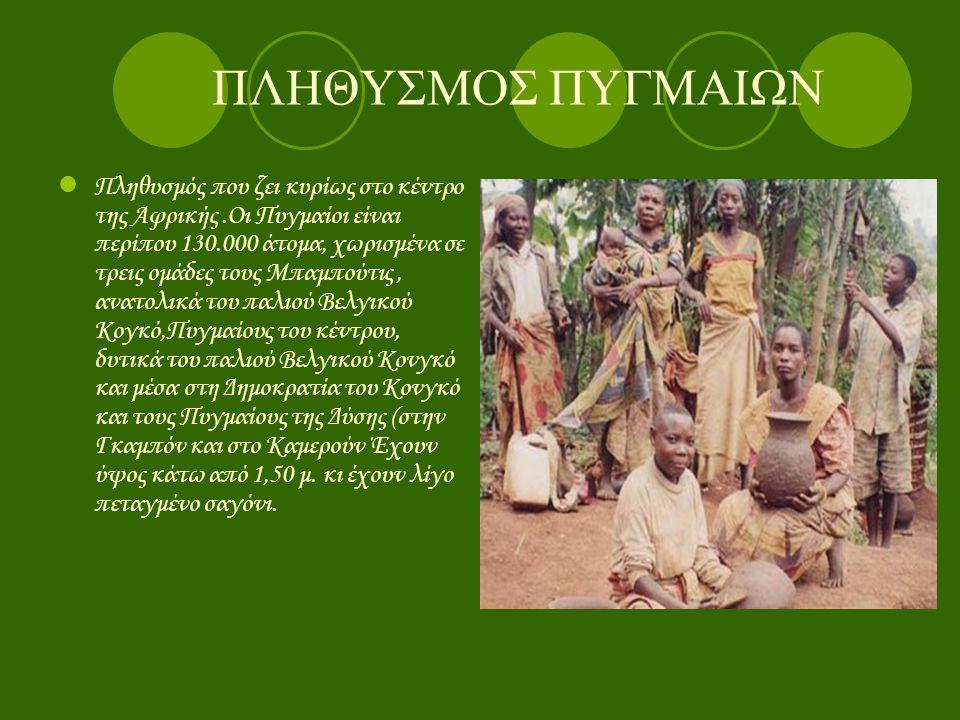 ΠΛΗΘΥΣΜΟΣ Π ΥΓΜΑΙΩΝ ΠΠ ληθυσμός που ζει κυρίως στο κέντρο της Αφρικής.Οι Πυγμαίοι είναι περίπου 130.000 άτομα, χωρισμένα σε τρεις ομάδες τους Μπαμπο