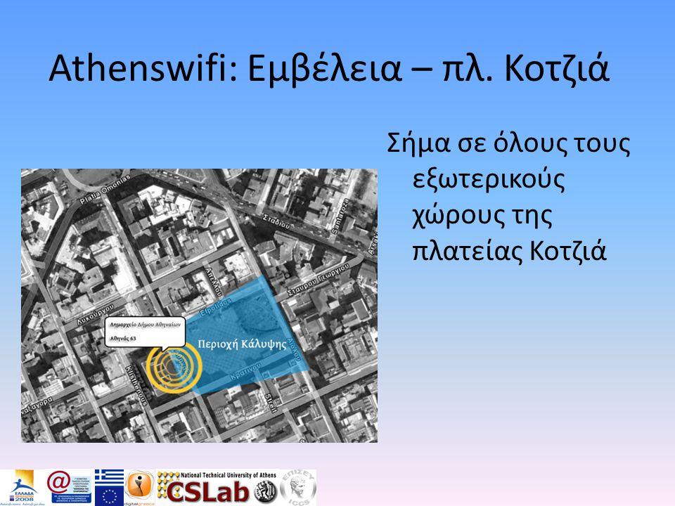 Athenswifi: Εμβέλεια – πλ. Κοτζιά Σήμα σε όλους τους εξωτερικούς χώρους της πλατείας Κοτζιά