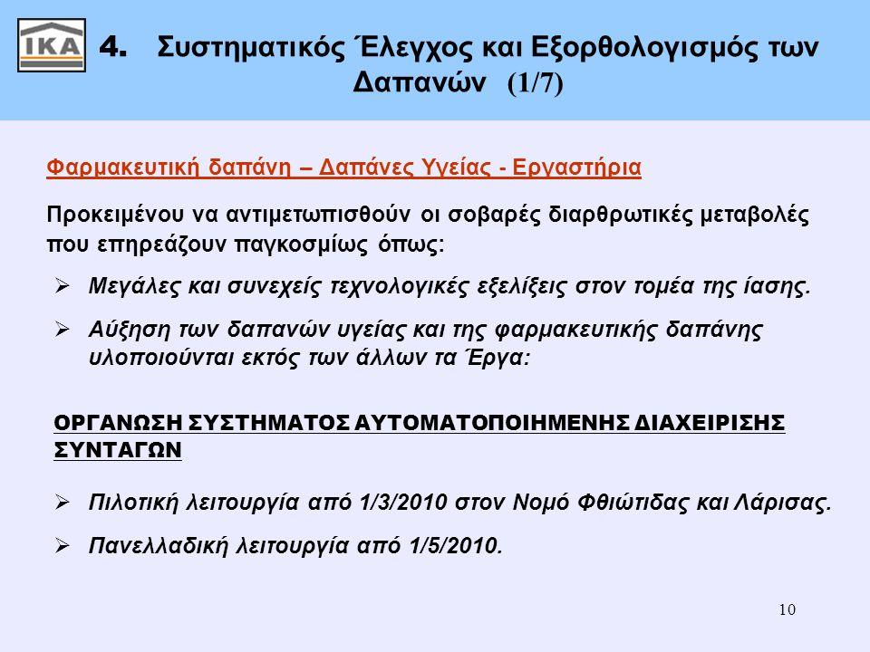 10 4. Συστηματικός Έλεγχος και Εξορθολογισμός των Δαπανών (1/7) Φαρμακευτική δαπάνη – Δαπάνες Υγείας - Εργαστήρια Προκειμένου να αντιμετωπισθούν οι σο