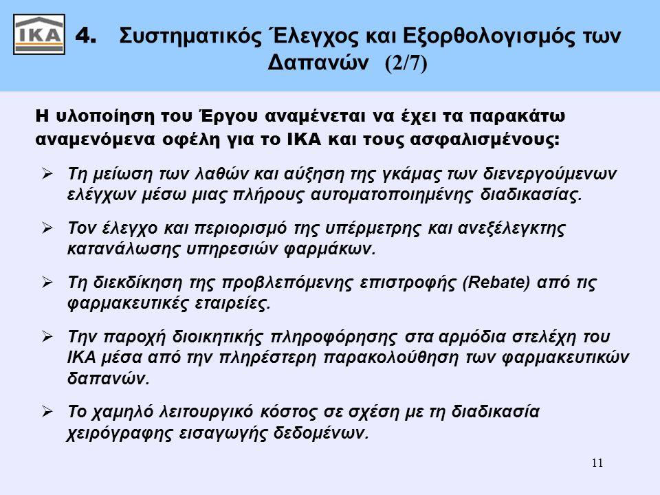 11 4. Συστηματικός Έλεγχος και Εξορθολογισμός των Δαπανών (2/7) Η υλοποίηση του Έργου αναμένεται να έχει τα παρακάτω αναμενόμενα οφέλη για το ΙΚΑ και