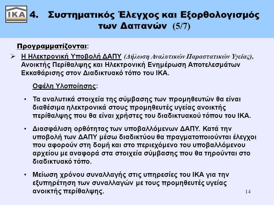14 4. Συστηματικός Έλεγχος και Εξορθολογισμός των Δα π ανών (5/7) Προγραμματίζονται :  Η Ηλεκτρονική Υποβολή ΔΑΠΥ (Δήλωση Αναλυτικών Παραστατικών Υγε