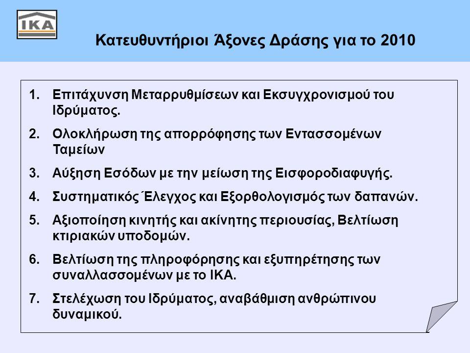 2 Κατευθυντήριοι Άξονες Δράσης για το 2010 1.Επιτάχυνση Μεταρρυθμίσεων και Εκσυγχρονισμού του Ιδρύματος. 2.Ολοκλήρωση της απορρόφησης των Εντασσομένων