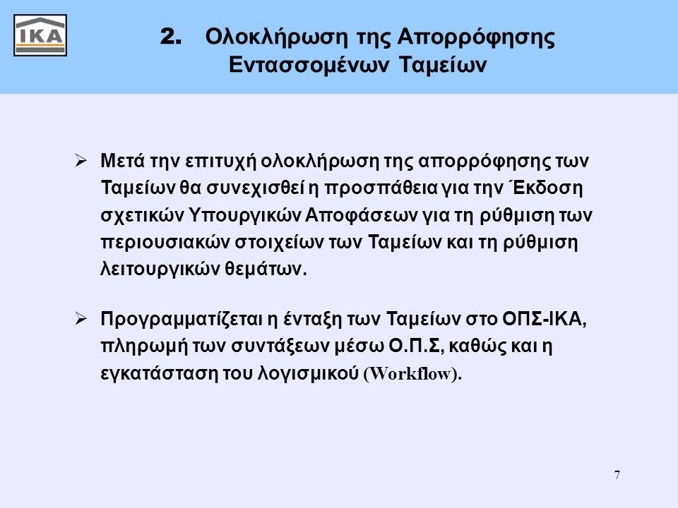 7 2. Ολοκλήρωση της Απορρόφησης Εντασσομένων Ταμείων  Μετά την επιτυχή ολοκλήρωση της απορρόφησης των Ταμείων θα συνεχισθεί η προσπάθεια για την Έκδο
