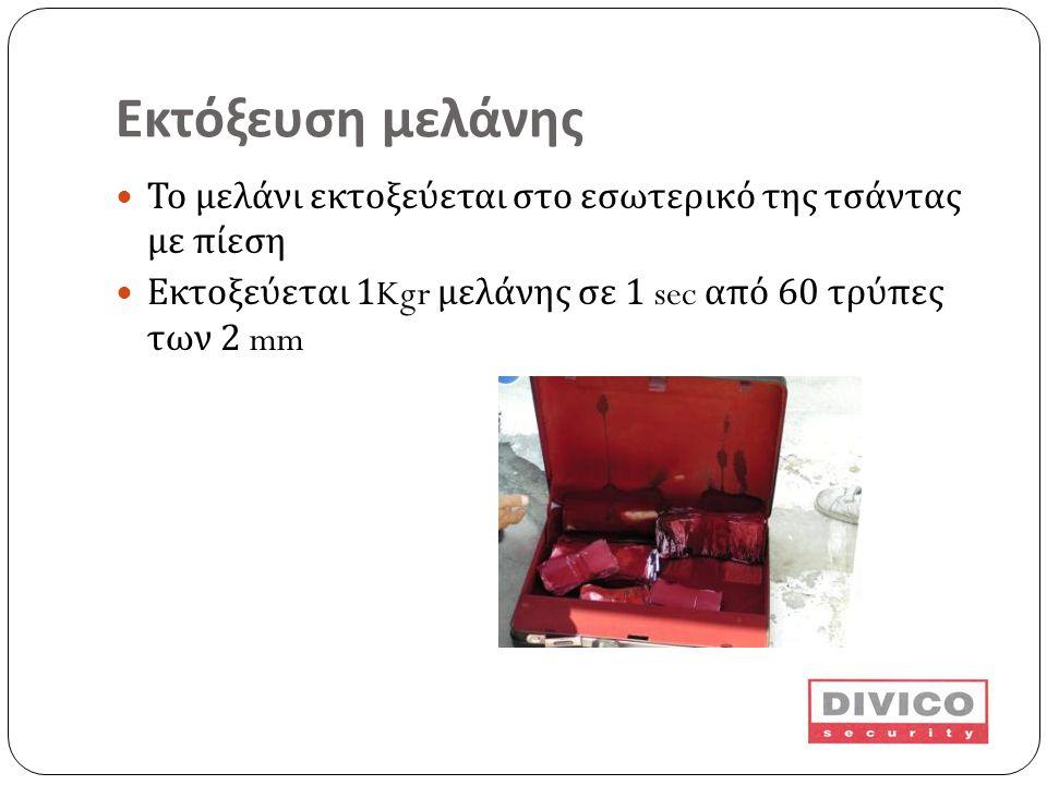 Εκτόξευση μελάνης  Το μελάνι εκτοξεύεται στο εσωτερικό της τσάντας με πίεση  Εκτοξεύεται 1Kgr μελάνης σε 1 sec από 60 τρύπες των 2 mm