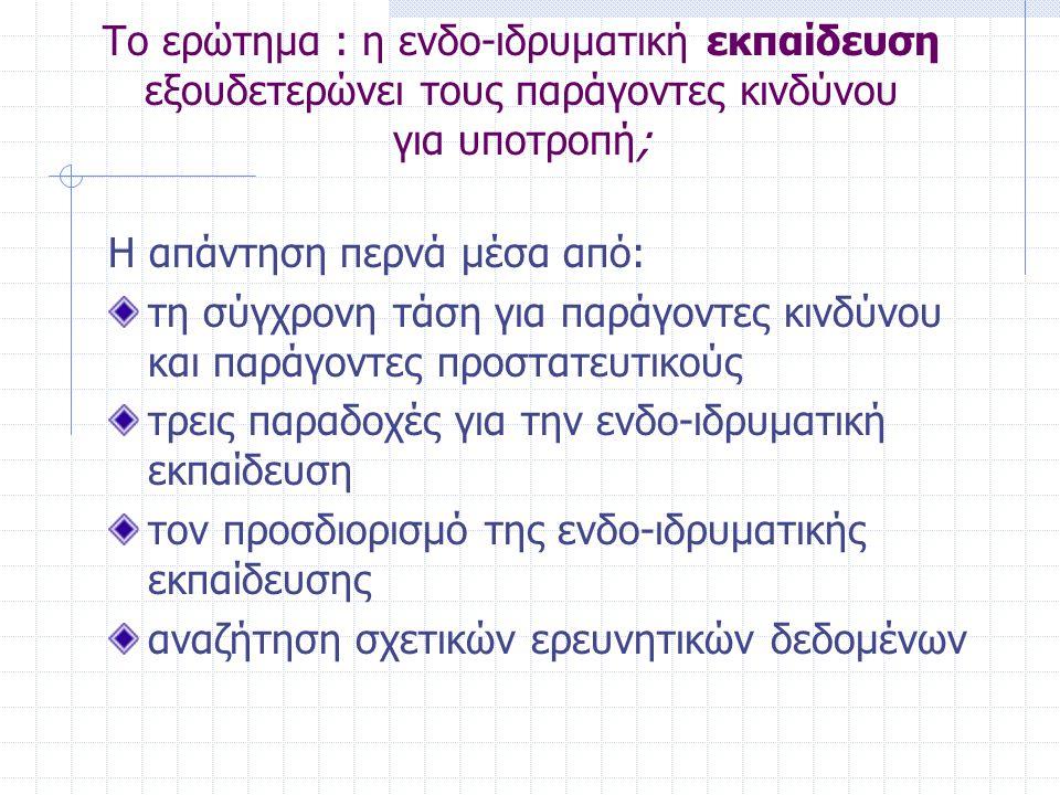 Το ερώτημα : η ενδο-ιδρυματική εκπαίδευση εξουδετερώνει τους παράγοντες κινδύνου για υποτροπή; Η απάντηση περνά μέσα από: τη σύγχρονη τάση για παράγοντες κινδύνου και παράγοντες προστατευτικούς τρεις παραδοχές για την ενδο-ιδρυματική εκπαίδευση τον προσδιορισμό της ενδο-ιδρυματικής εκπαίδευσης αναζήτηση σχετικών ερευνητικών δεδομένων