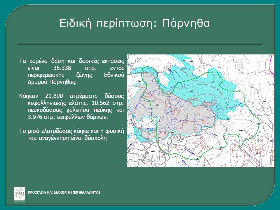 Τα καμένα δάση και δασικές εκτάσεις είναι 36.338 στρ. εντός περιφερειακής ζώνης Εθνικού Δρυμού Πάρνηθας. Κάηκαν 21.800 στρέμματα δάσους κεφαλληνιακής