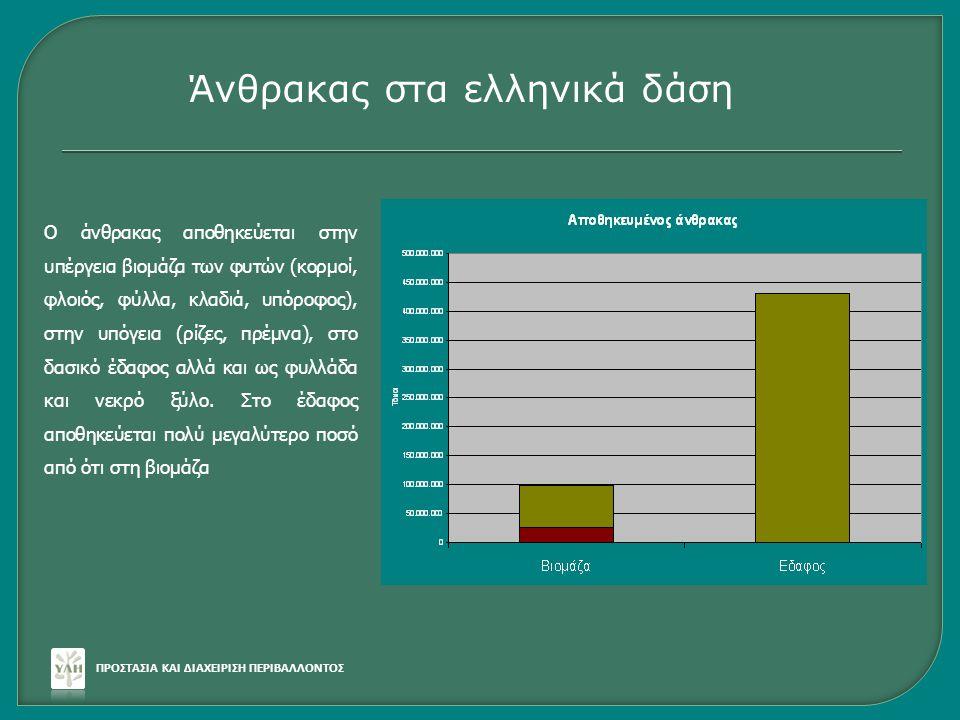 Ο άνθρακας αποθηκεύεται στην υπέργεια βιομάζα των φυτών (κορμοί, φλοιός, φύλλα, κλαδιά, υπόροφος), στην υπόγεια (ρίζες, πρέμνα), στο δασικό έδαφος αλλ