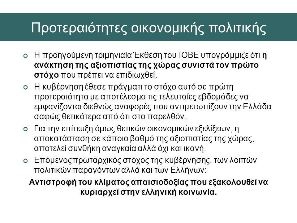 Εκλογές Ιουνίου 2012: α) Πολυκομματική βουλή β) Συγκρότηση τρικομματικής κυβέρνησης: i) πρωτοφανής κυβερνητικός σχηματισμός «μακράς πνοής» μεταπολιτευτικά ii) συνεπάγεται αλλαγές στον τρόπο άσκησης εκτελεστικής εξουσίας iii) προσαρμογές τέτοιου είδους απαιτούν χρόνο για να ολοκληρωθούν απρόσκοπτα  αντ' αυτού, επιτάχυνσή τους για τον προσδιορισμό των νέων δημοσιονομικών μέτρων iv) Καθοριστικοί οι ρυθμοί συνέχισης δημοσιονομικής προσαρμογής και των διαρθρωτικών μεταρρυθμίσεων Εξελίξεις β' εξαμήνου
