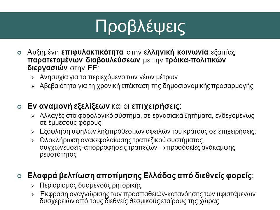Αυξημένη επιφυλακτικότητα στην ελληνική κοινωνία εξαιτίας παρατεταμένων διαβουλεύσεων με την τρόικα-πολιτικών διεργασιών στην ΕΕ:  Ανησυχία για το περιεχόμενο των νέων μέτρων  Αβεβαιότητα για τη χρονική επέκταση της δημοσιονομικής προσαρμογής Εν αναμονή εξελίξεων και οι επιχειρήσεις:  Αλλαγές στο φορολογικό σύστημα, σε εργασιακά ζητήματα, ενδεχομένως σε έμμεσους φόρους  Εξόφληση υψηλών ληξιπρόθεσμων οφειλών του κράτους σε επιχειρήσεις;  Ολοκλήρωση ανακεφαλαίωσης τραπεζικού συστήματος, συγχωνεύσεις-απορροφήσεις τραπεζών  προσδοκίες ανάκαμψης ρευστότητας Ελαφρά βελτίωση αποτίμησης Ελλάδας από διεθνείς φορείς :  Περιορισμός δυσμενούς ρητορικής  Έκφραση αναγνώρισης των προσπαθειών-κατανόησης των υφιστάμενων δυσχερειών από τους διεθνείς θεσμικούς εταίρους της χώρας Προβλέψεις
