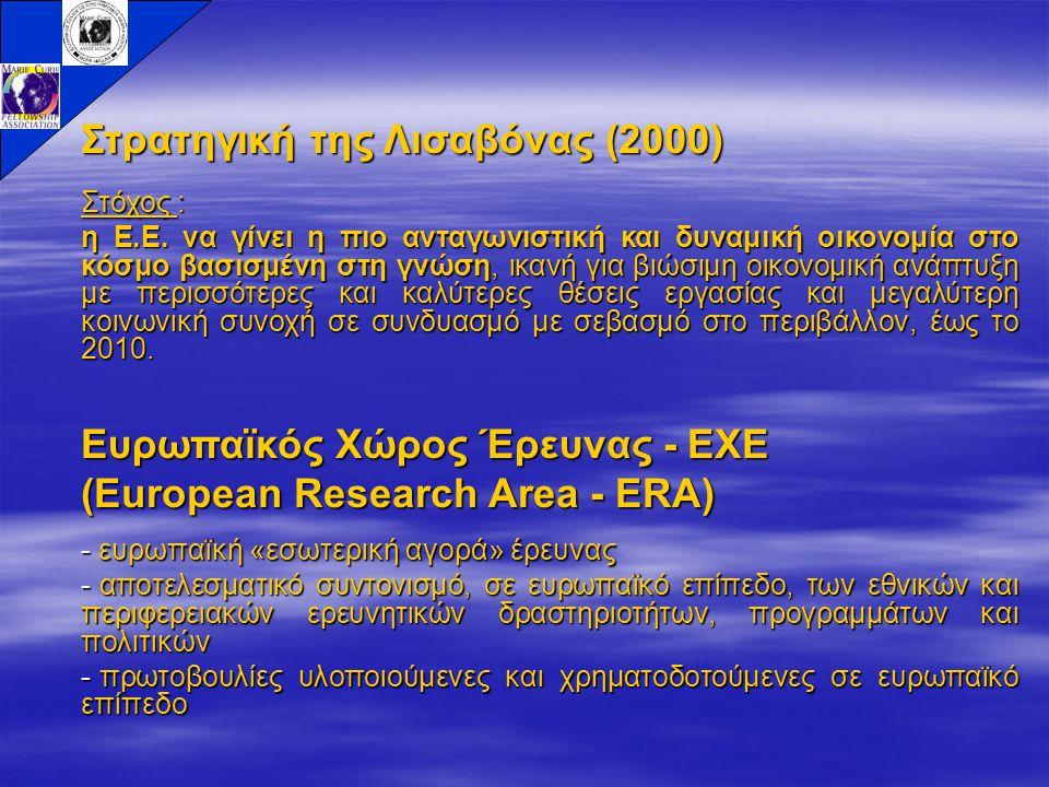 Στρατηγική της Λισαβόνας (2000) Στόχος : η Ε.Ε. να γίνει η πιο ανταγωνιστική και δυναμική οικονομία στο κόσμο βασισμένη στη γνώση, ικανή για βιώσιμη ο