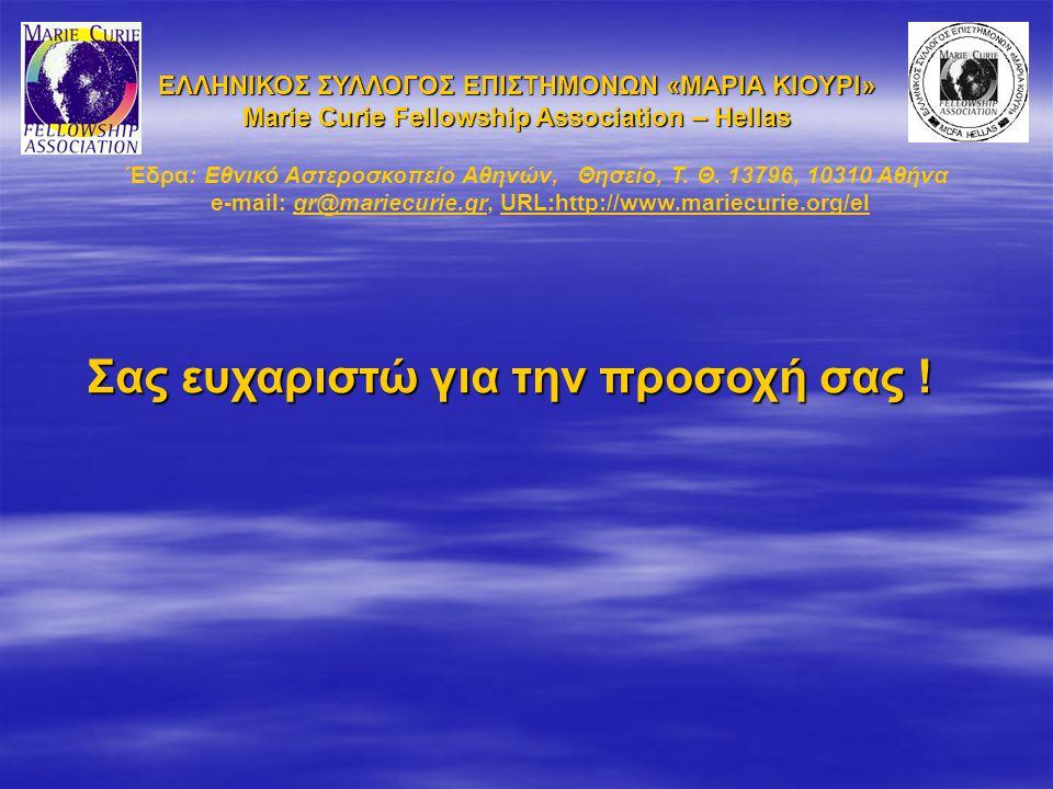 Σας ευχαριστώ για την προσοχή σας ! ΕΛΛΗΝΙΚΟΣ ΣΥΛΛΟΓΟΣ ΕΠΙΣΤΗΜΟΝΩΝ «ΜΑΡΙΑ ΚΙΟΥΡΙ» Marie Curie Fellowship Association – Hellas Έδρα: Εθνικό Αστεροσκοπε