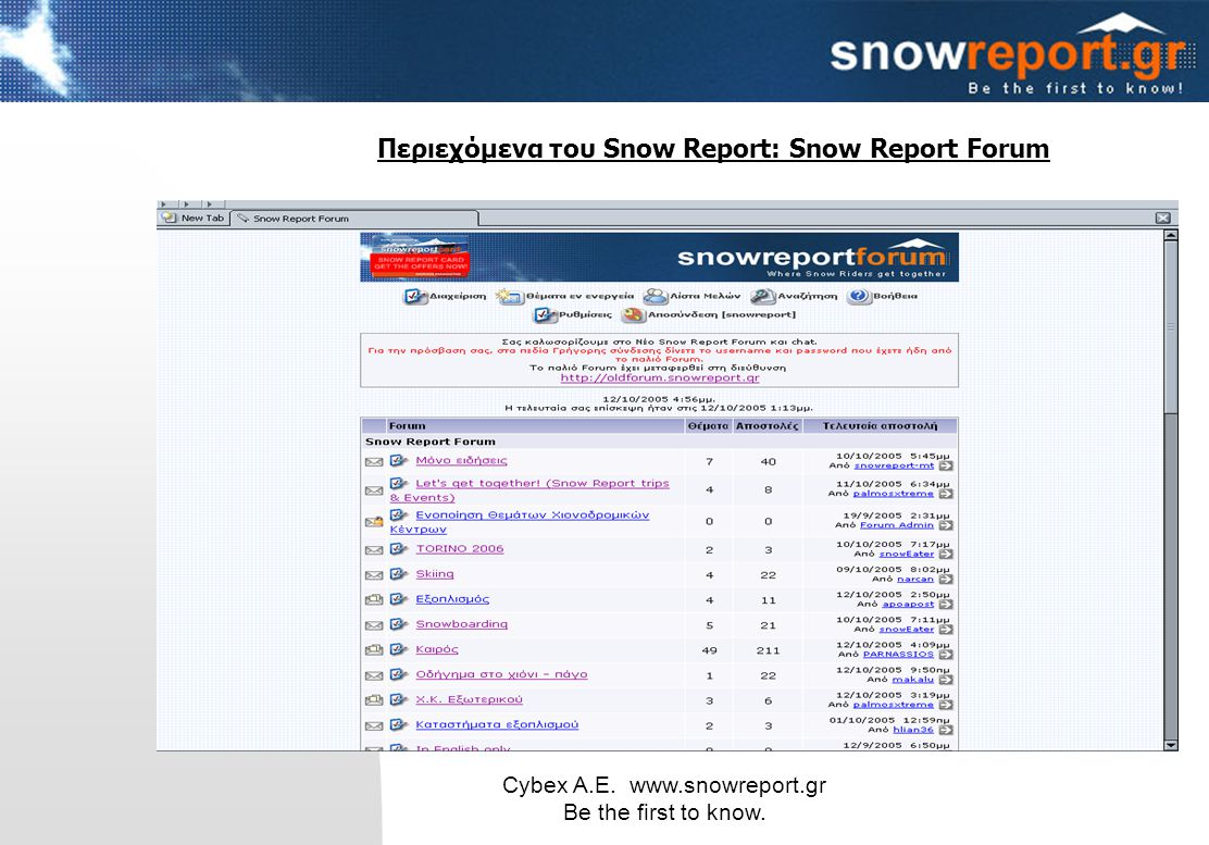 Cybex Α.Ε. www.snowreport.gr Be the first to know. Περιεχόμενα του Snow Report: Snow Report Forum