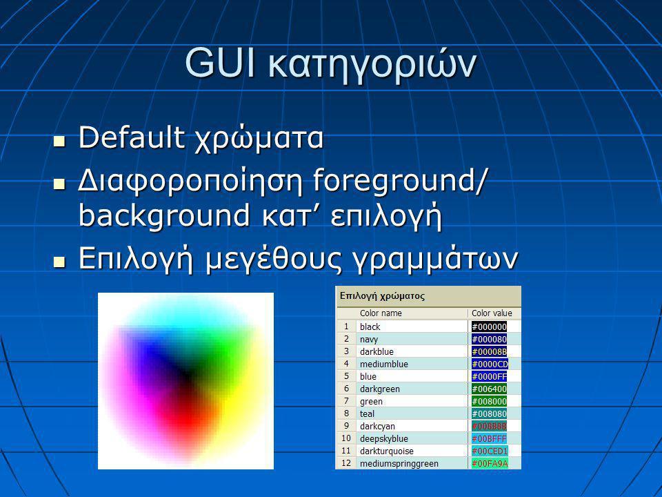 GUI κατηγοριών  Default χρώματα  Διαφοροποίηση foreground/ background κατ' επιλογή  Επιλογή μεγέθους γραμμάτων
