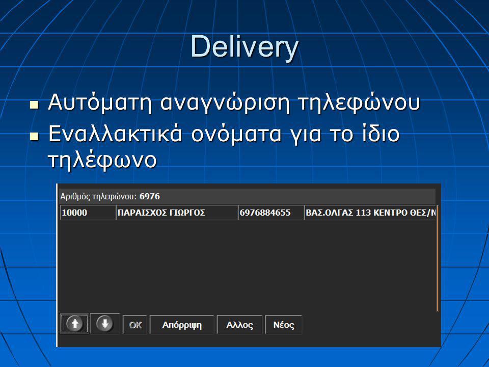Delivery  Αυτόματη αναγνώριση τηλεφώνου  Εναλλακτικά ονόματα για το ίδιο τηλέφωνο