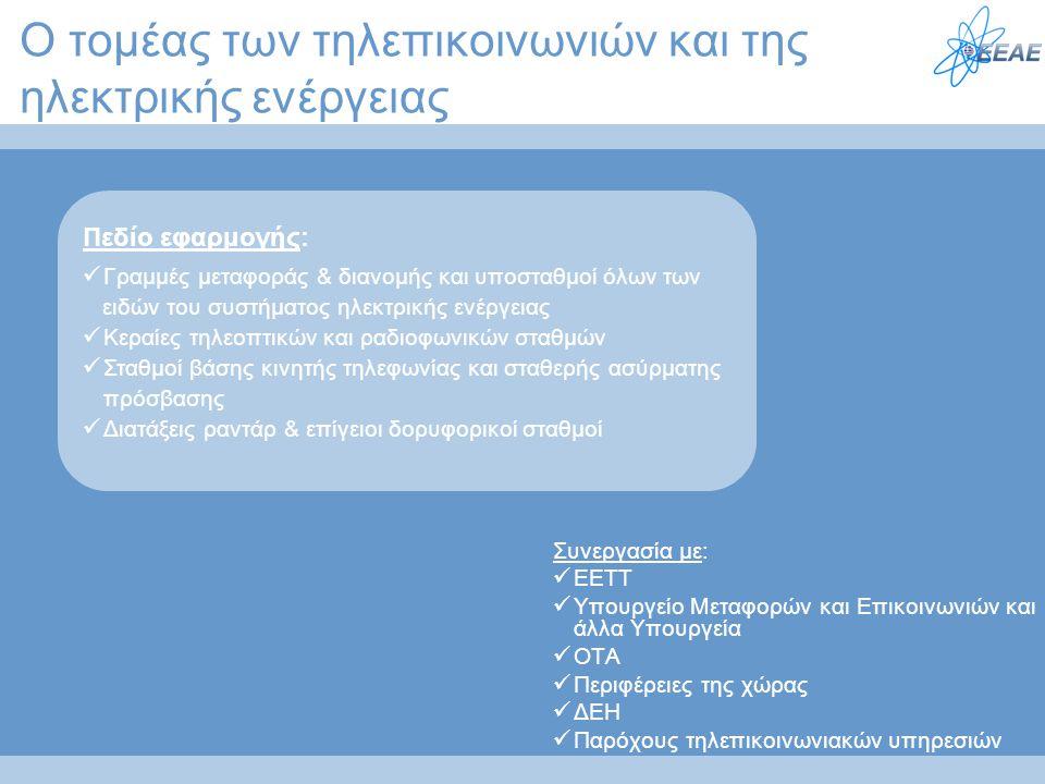 Ο τομέας των τηλεπικοινωνιών και της ηλεκτρικής ενέργειας Συνεργασία με:  EETT  Υπουργείο Μεταφορών και Επικοινωνιών και άλλα Υπουργεία  ΟΤΑ  Περι