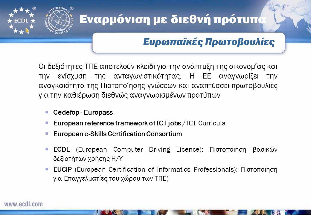 Ευρωπαϊκές Πρωτοβουλίες Εναρμόνιση με διεθνή πρότυπα Οι δεξιότητες ΤΠΕ αποτελούν κλειδί για την ανάπτυξη της οικονομίας και την ενίσχυση της ανταγωνισ