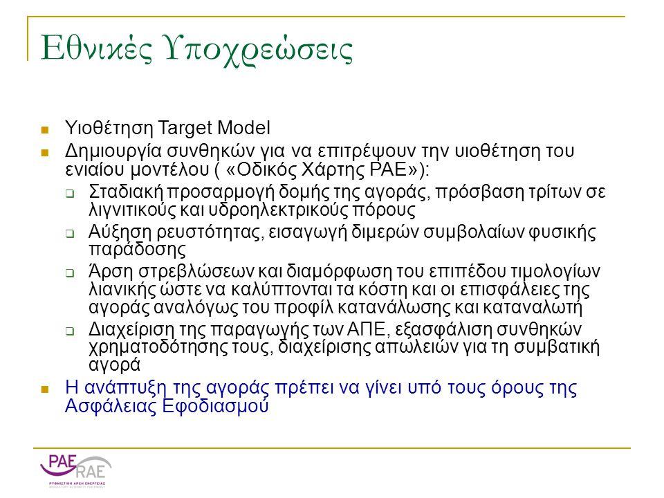 Εθνικές Υποχρεώσεις  Υιοθέτηση Target Model  Δημιουργία συνθηκών για να επιτρέψουν την υιοθέτηση του ενιαίου μοντέλου ( «Οδικός Χάρτης ΡΑΕ»):  Σταδιακή προσαρμογή δομής της αγοράς, πρόσβαση τρίτων σε λιγνιτικούς και υδροηλεκτρικούς πόρους  Αύξηση ρευστότητας, εισαγωγή διμερών συμβολαίων φυσικής παράδοσης  Άρση στρεβλώσεων και διαμόρφωση του επιπέδου τιμολογίων λιανικής ώστε να καλύπτονται τα κόστη και οι επισφάλειες της αγοράς αναλόγως του προφίλ κατανάλωσης και καταναλωτή  Διαχείριση της παραγωγής των ΑΠΕ, εξασφάλιση συνθηκών χρηματοδότησης τους, διαχείρισης απωλειών για τη συμβατική αγορά  Η ανάπτυξη της αγοράς πρέπει να γίνει υπό τους όρους της Ασφάλειας Εφοδιασμού