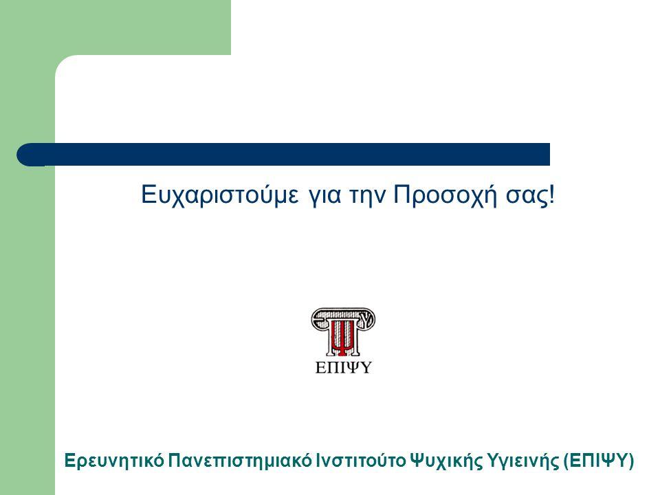 Ευχαριστούμε για την Προσοχή σας! Ερευνητικό Πανεπιστημιακό Ινστιτούτο Ψυχικής Υγιεινής (ΕΠΙΨΥ)