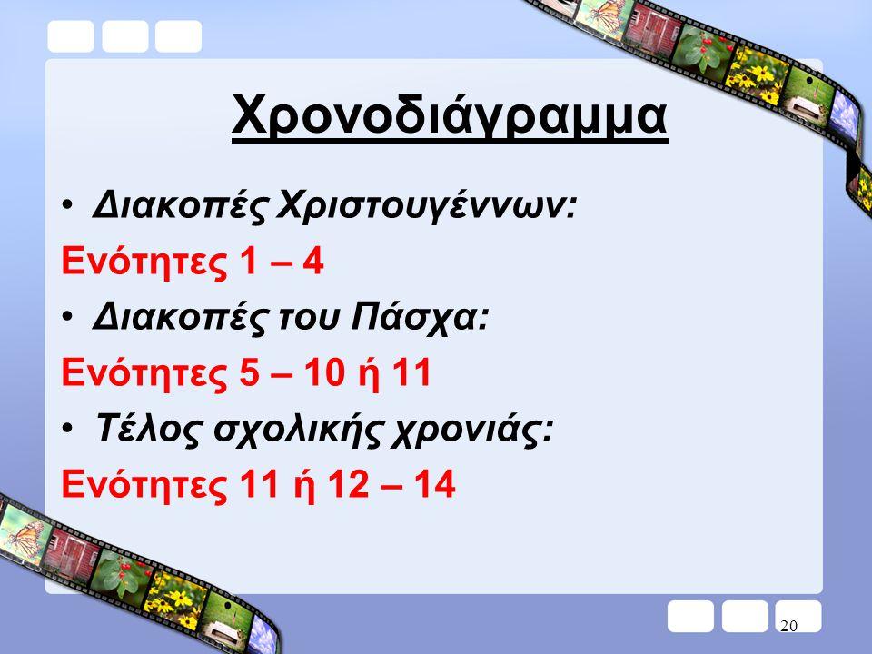 20 Χρονοδιάγραμμα •Διακοπές Χριστουγέννων: Ενότητες 1 – 4 •Διακοπές του Πάσχα: Ενότητες 5 – 10 ή 11 •Τέλος σχολικής χρονιάς: Ενότητες 11 ή 12 – 14