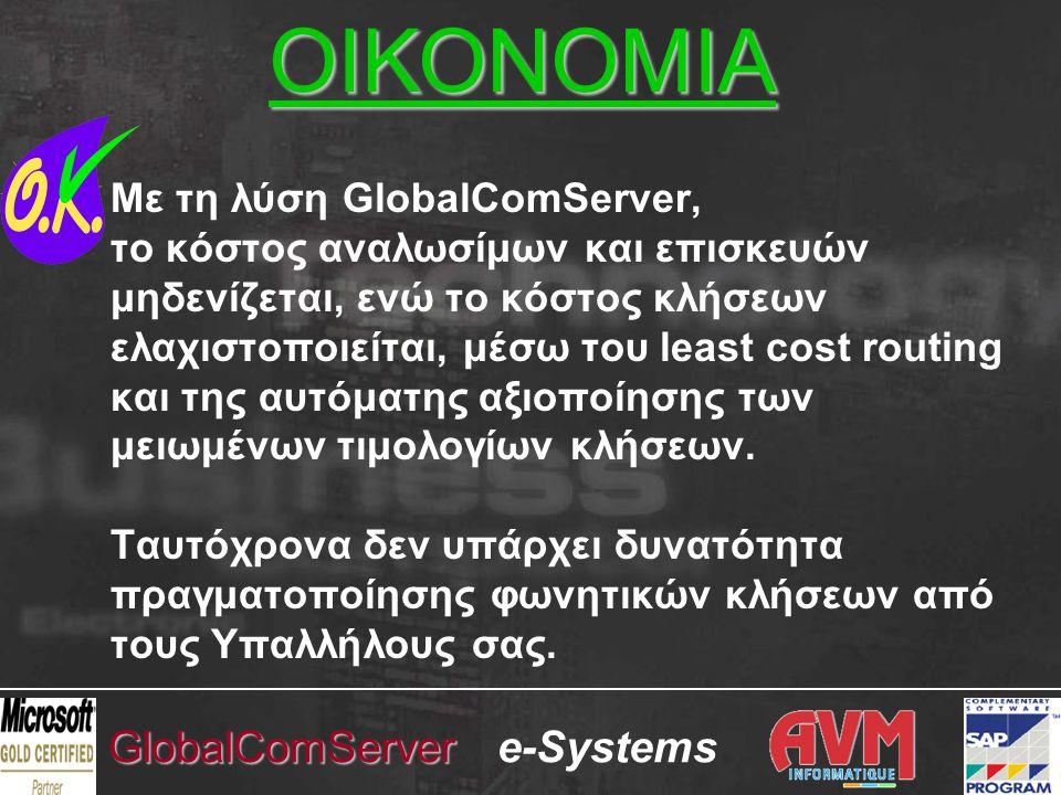 e-SystemsGlobalComServer Με τη λύση GlobalComServer, το κόστος αναλωσίμων και επισκευών μηδενίζεται, ενώ το κόστος κλήσεων ελαχιστοποιείται, μέσω του least cost routing και της αυτόματης αξιοποίησης των μειωμένων τιμολογίων κλήσεων.