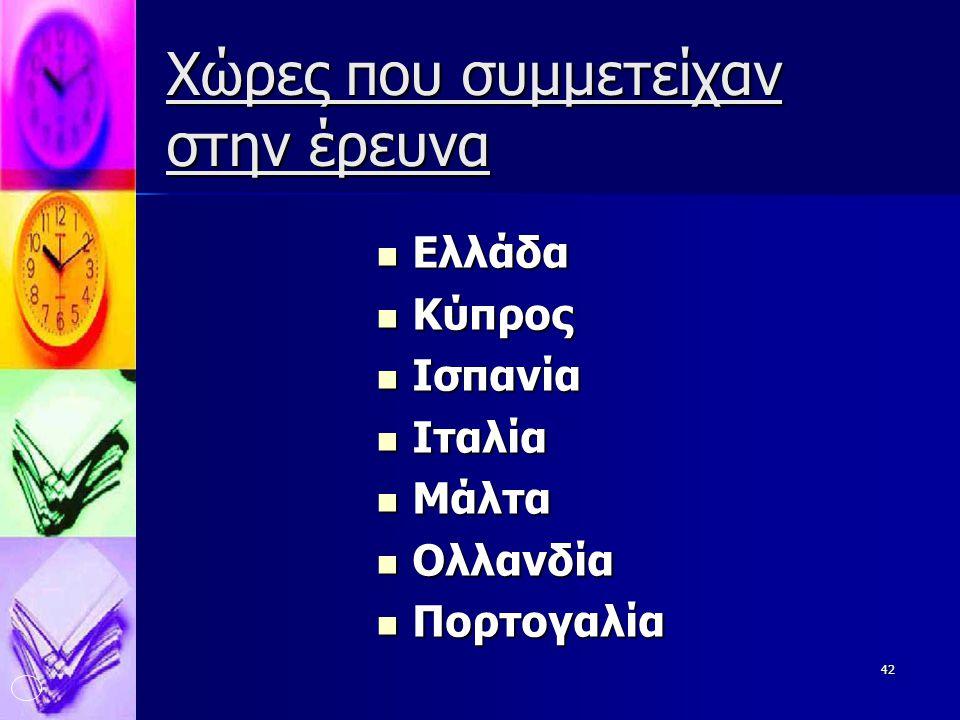 42 Χώρες που συμμετείχαν στην έρευνα  Ελλάδα  Κύπρος  Ισπανία  Ιταλία  Μάλτα  Ολλανδία  Πορτογαλία