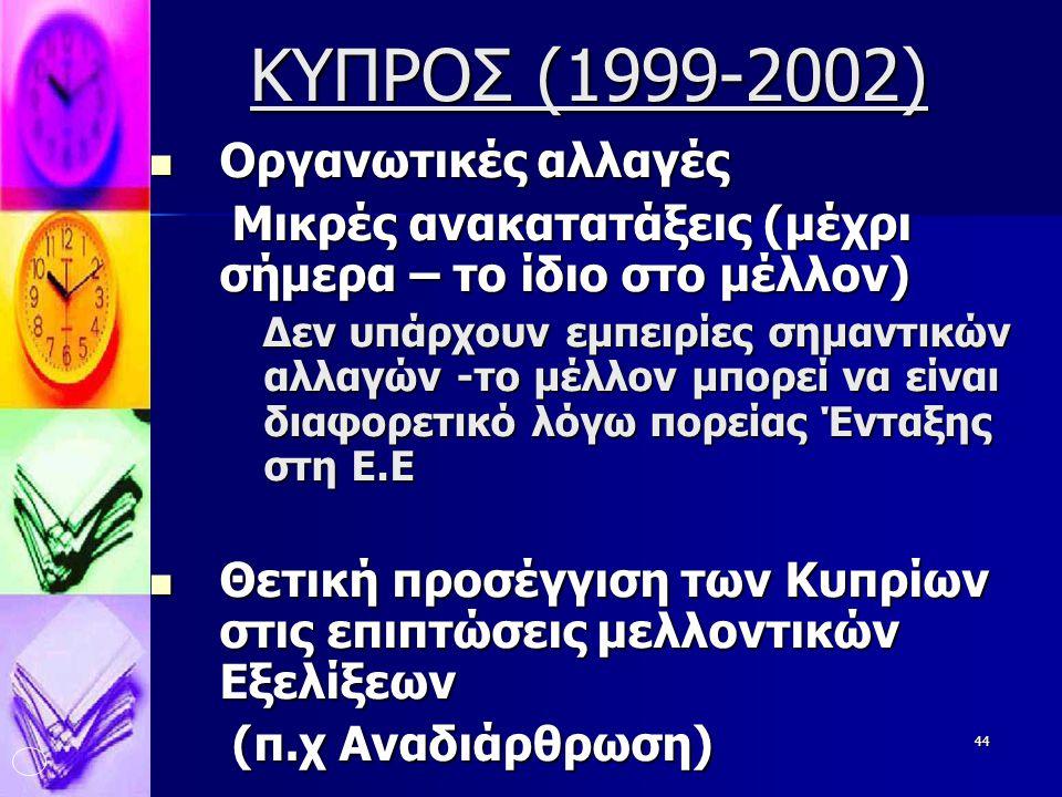 44 ΚΥΠΡΟΣ (1999-2002)  Οργανωτικές αλλαγές Μικρές ανακατατάξεις (μέχρι σήμερα – το ίδιο στο μέλλον) Μικρές ανακατατάξεις (μέχρι σήμερα – το ίδιο στο μέλλον) Δεν υπάρχουν εμπειρίες σημαντικών αλλαγών -το μέλλον μπορεί να είναι διαφορετικό λόγω πορείας Ένταξης στη Ε.Ε Δεν υπάρχουν εμπειρίες σημαντικών αλλαγών -το μέλλον μπορεί να είναι διαφορετικό λόγω πορείας Ένταξης στη Ε.Ε  Θετική προσέγγιση των Κυπρίων στις επιπτώσεις μελλοντικών Εξελίξεων (π.χ Αναδιάρθρωση) (π.χ Αναδιάρθρωση)