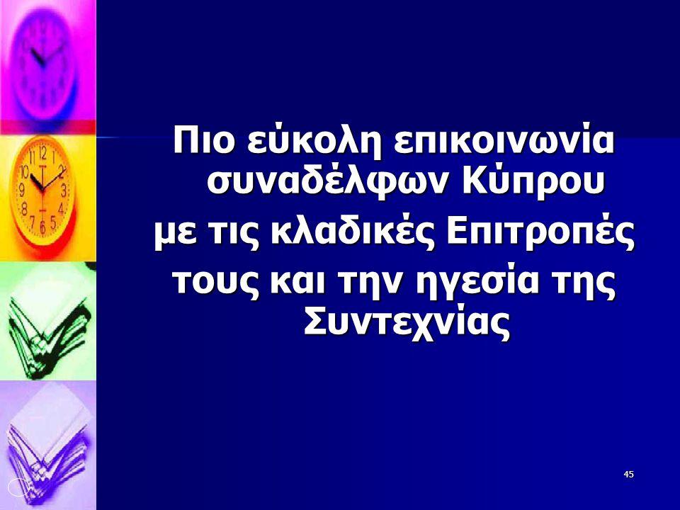 45 Πιο εύκολη επικοινωνία συναδέλφων Κύπρου με τις κλαδικές Επιτροπές τους και την ηγεσία της Συντεχνίας