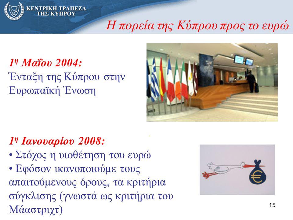 15 1 η Μαΐου 2004: Ένταξη της Κύπρου στην Ευρωπαϊκή Ένωση 1 η Ιανουαρίου 2008: • Στόχος η υιοθέτηση του ευρώ • Εφόσον ικανοποιούμε τους απαιτούμενους