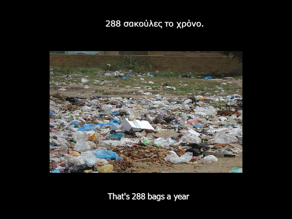 That's 288 bags a year 288 σακούλες το χρόνο.