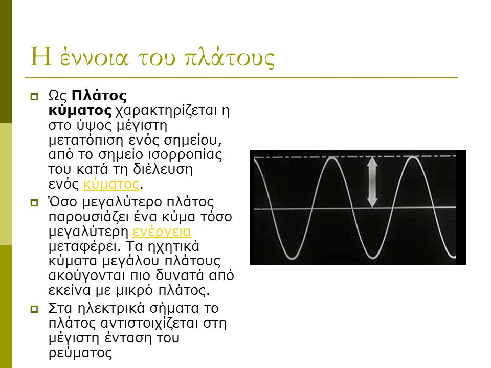 Η έννοια του πλάτους  Ως Πλάτος κύματος χαρακτηρίζεται η στο ύψος μέγιστη μετατόπιση ενός σημείου, από το σημείο ισορροπίας του κατά τη διέλευση ενός