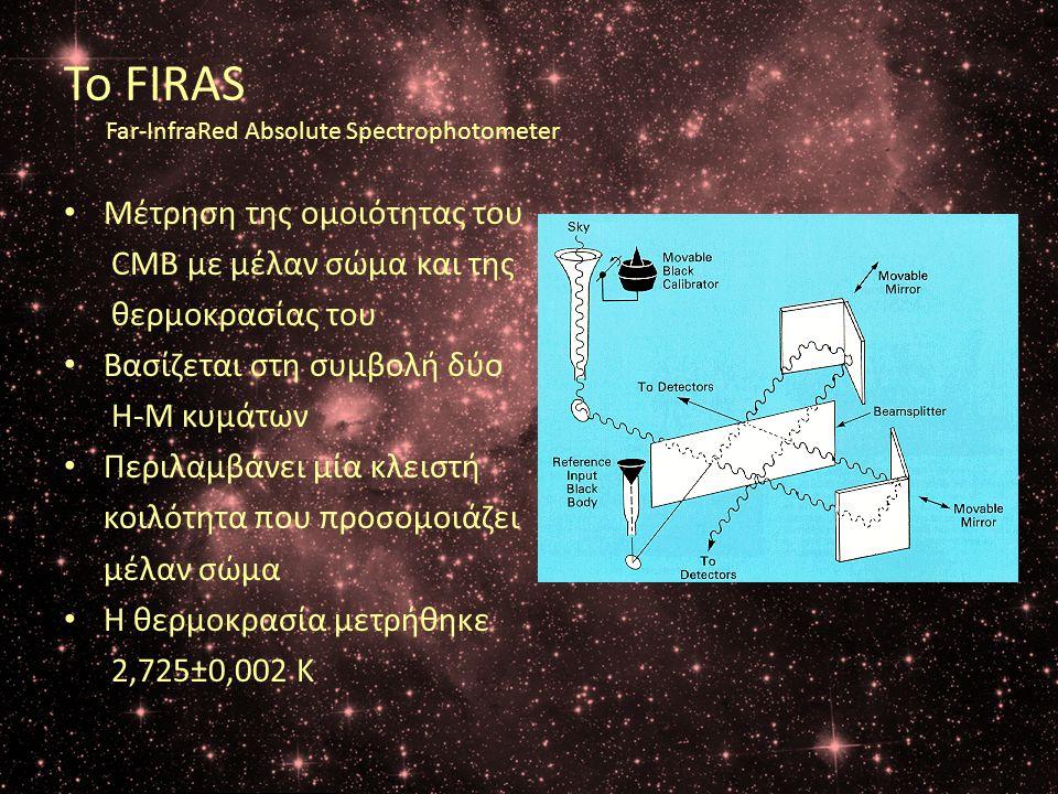 Το FIRAS Far-InfraRed Absolute Spectrophotometer • Μέτρηση της ομοιότητας του CMB με μέλαν σώμα και της θερμοκρασίας του • Βασίζεται στη συμβολή δύο Η