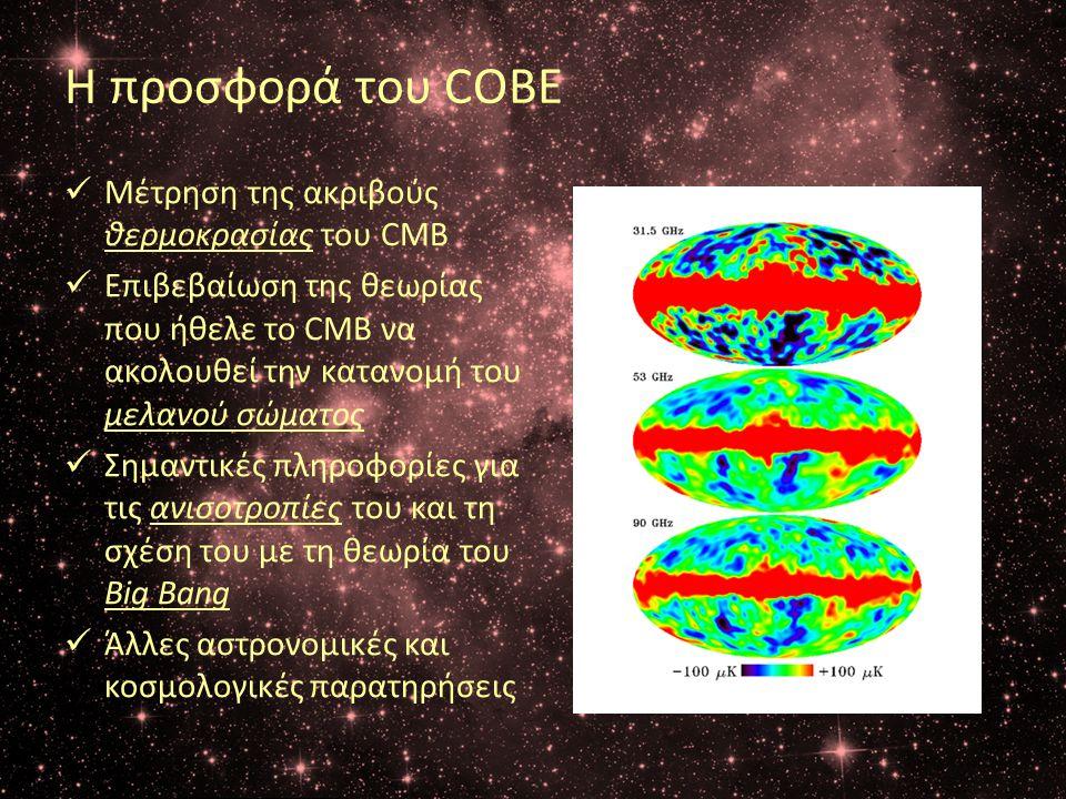 Η προσφορά του COBE  Μέτρηση της ακριβούς θερμoκρασίας του CMB  Επιβεβαίωση της θεωρίας που ήθελε το CMB να ακολουθεί την κατανομή του μελανού σώματ