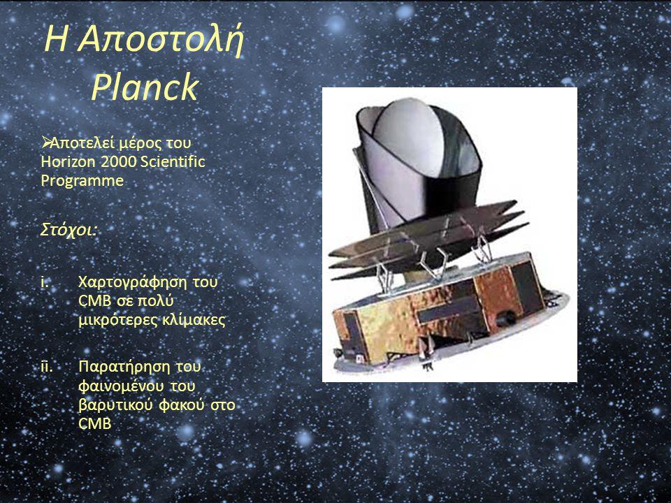 Η Αποστολή Planck  Αποτελεί μέρος του Horizon 2000 Scientific Programme Στόχοι: i.Χαρτογράφηση του CMB σε πολύ μικρότερες κλίμακες ii.Παρατήρηση του
