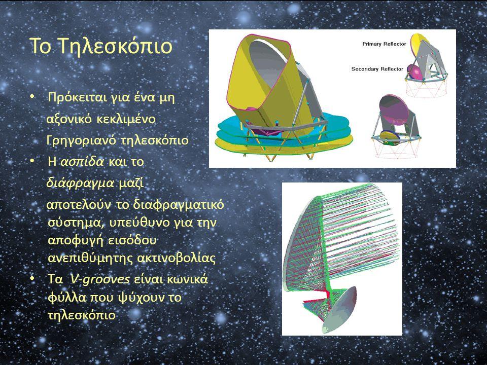Το Τηλεσκόπιο • Πρόκειται για ένα μη αξονικό κεκλιμένο Γρηγοριανό τηλεσκόπιο • Η ασπίδα και το διάφραγμα μαζί αποτελούν το διαφραγματικό σύστημα, υπεύ