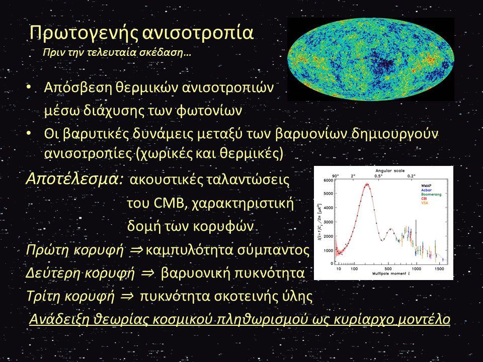Δευτερογενής Ανισοτροπία Τα σκοτεινά χρόνια…  Την περίοδο μεταξύ της τελευταίας σκέδασης και της παρατήρησης των πρώτων αστέρων το διαγαλαξιακό κενό ήταν γεμάτο με ιονισμένη ύλη i.Το CMB που περνούσε μέσα από το νέφος ιονισμένων ηλεκτρονίων «έκλεβε» λίγη ενέργεια (Sunyaev – Zel'dovich effect) ii.Λόγω βαρυτικών δυνάμεων μεταξύ αυτής της ύλης το CMB έχανε λίγη ενέργεια (Sachs – Wolfe effect)  Ομοιότητα μεταξύ του τετραπόλου και του οκταπόλου του CMB συνιστά τους άξονες του κακού