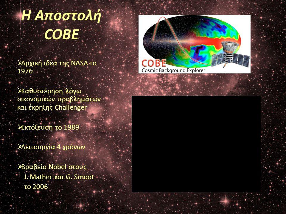 Η Αποστολή COBE  Αρχική ιδέα της NASA το 1976  Καθυστέρηση λόγω οικονομικών προβλημάτων και έκρηξης Challenger  Εκτόξευση το 1989  Λειτουργία 4 χρ