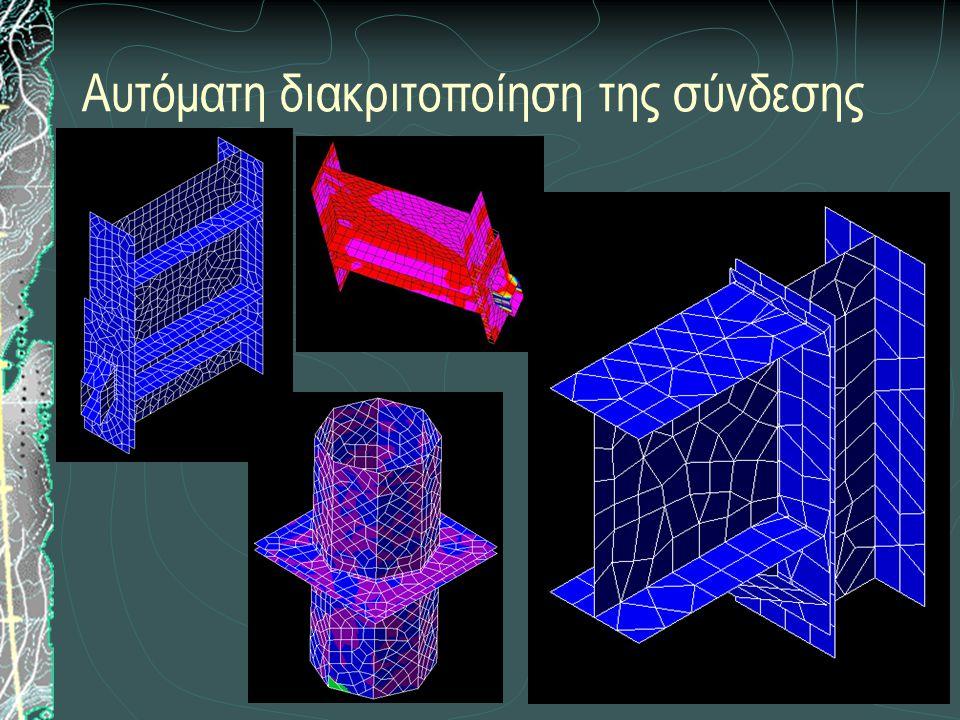 Επίλυση του φορέα με ραβδωτά και επιφανειακά πεπερασμένα στοιχεία Προσομοίωση σύνδεσης Έλασμα  Τριγωνικά ή τετραπλευρικά επιφανειακά στοιχεία κελύφους.