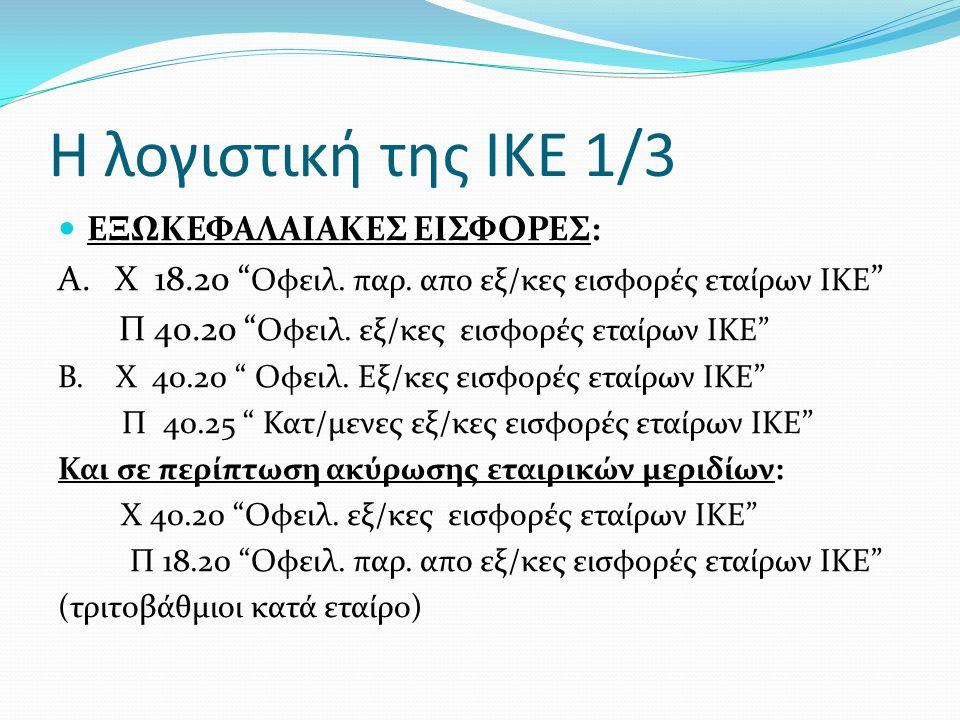"""Η λογιστική της ΙΚΕ 1/3  ΕΞΩΚΕΦΑΛΑΙΑΚΕΣ ΕΙΣΦΟΡΕΣ: Α. X 18.20 """" Οφειλ. παρ. απο εξ/κες εισφορές εταίρων IKE """" Π 40.20 """" Οφειλ. εξ/κες εισφορές εταίρων"""