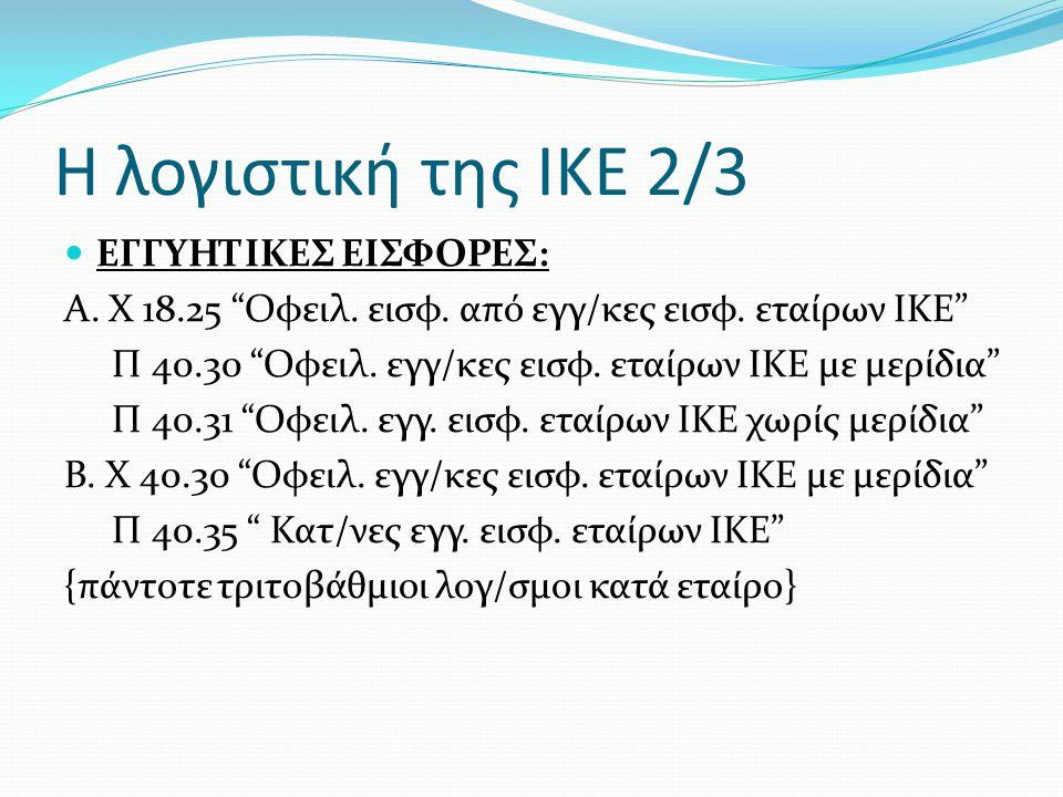 """Η λογιστική της ΙΚΕ 2/3  ΕΓΓΥΗΤΙΚΕΣ ΕΙΣΦΟΡΕΣ: A. X 18.25 """"Οφειλ. εισφ. από εγγ/κες εισφ. εταίρων ΙΚΕ"""" Π 40.30 """"Οφειλ. εγγ/κες εισφ. εταίρων ΙΚΕ με με"""