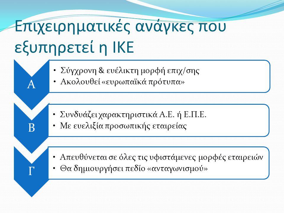 Επιχειρηματικές ανάγκες που εξυπηρετεί η ΙΚΕ Α •Σύγχρονη & ευέλικτη μορφή επιχ/σης •Ακολουθεί «ευρωπαϊκά πρότυπα» Β •Συνδυάζει χαρακτηριστικά Α.Ε. ή Ε