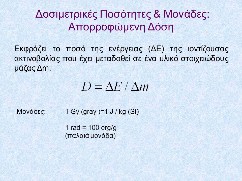 Δοσιμετρικές Ποσότητες & Μονάδες: Απορροφώμενη Δόση Εκφράζει το ποσό της ενέργειας (ΔΕ) της ιοντίζουσας ακτινοβολίας που έχει μεταδοθεί σε ένα υλικό στοιχειώδους μάζας Δm.