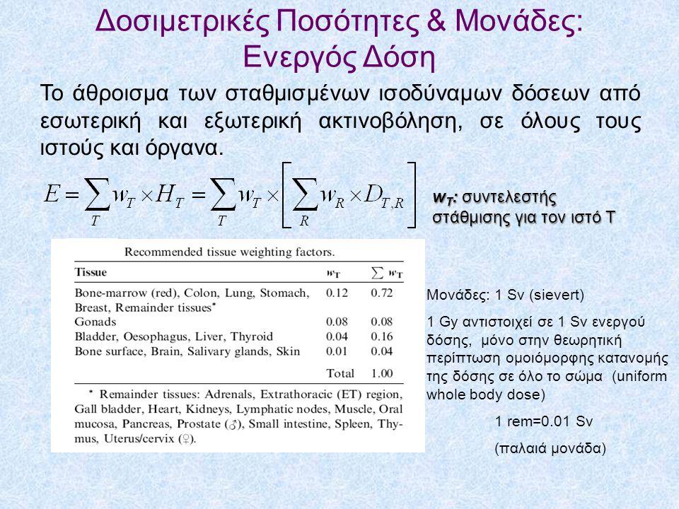 Δοσιμετρικές Ποσότητες & Μονάδες: Ενεργός Δόση Το άθροισμα των σταθμισμένων ισοδύναμων δόσεων από εσωτερική και εξωτερική ακτινοβόληση, σε όλους τους ιστούς και όργανα.