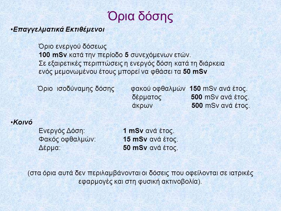 Όρια δόσης •Επαγγελματικά Εκτιθέμενοι Όριο ενεργού δόσεως 100 mSv κατά την περίοδο 5 συνεχόμενων ετών.