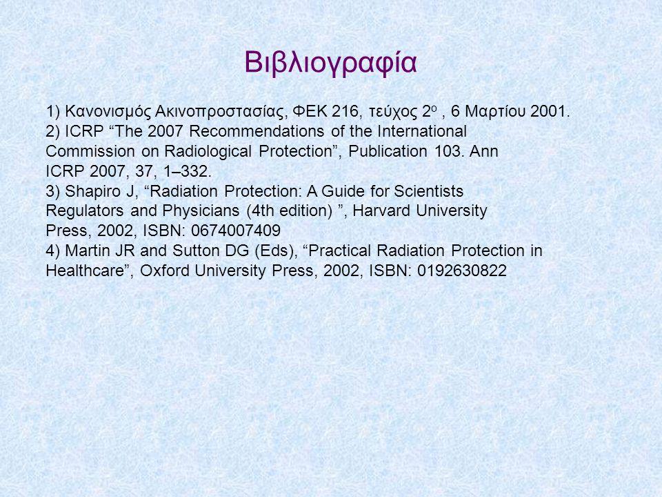 Βιβλιογραφία 1) Κανονισμός Ακινοπροστασίας, ΦΕΚ 216, τεύχος 2 ο, 6 Μαρτίου 2001.