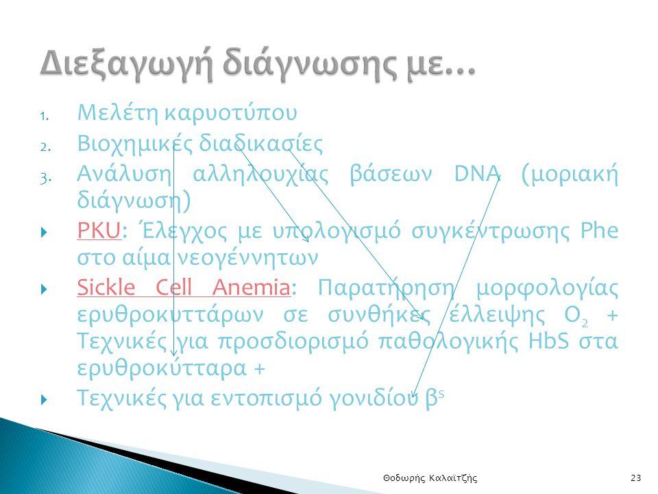 1.Μελέτη καρυοτύπου 2. Βιοχημικές διαδικασίες 3.