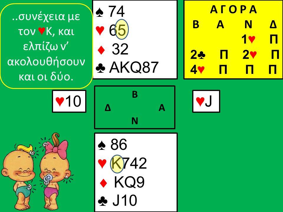 ♠ 86 ♥ K742  KQ9 ♣ J10 ♠ 74 ♥ 65  32 ♣ AKQ87 ♥10 Β Δ Α Ν ♥J♥J..συνέχεια με τον ♥ Κ, και ελπίζω ν' ακολουθήσουν και οι δύο.