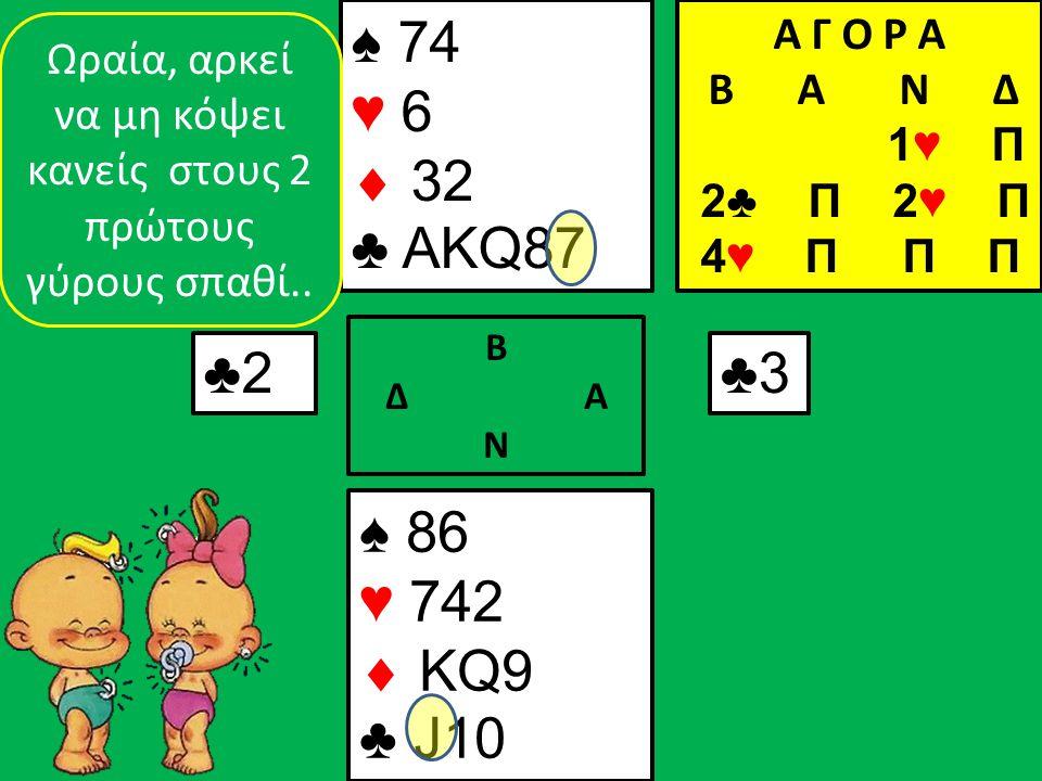 ♠ 86 ♥ 742  KQ9 ♣ J10 ♠ 74 ♥ 6  32 ♣ AKQ87 ♣2♣2 Β Δ Α Ν ♣3♣3 Ωραία, αρκεί να μη κόψει κανείς στους 2 πρώτους γύρους σπαθί..