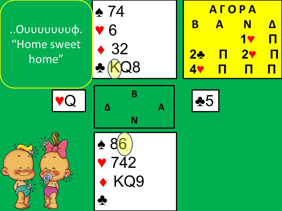 ♠ 86 ♥ 742  KQ9 ♣ ♠ 74 ♥ 6  32 ♣ KQ8 ♥Q♥Q Β Δ Α Ν ♣5..Ουυυυυυυφ.